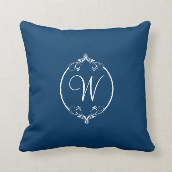 Navy and White Ornate Monogram Throw Pillow