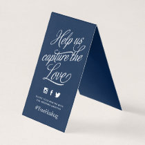 Navy and White Personalized Wedding Hashtag Sign