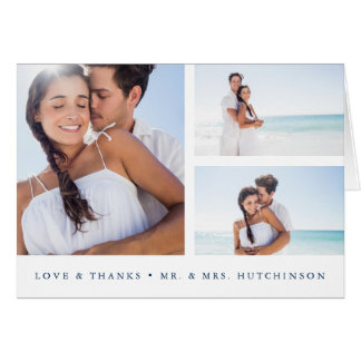 Navy and White Photo Collage Wedding Thank You Card