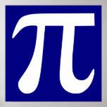 Navy and White Pi Symbol Print