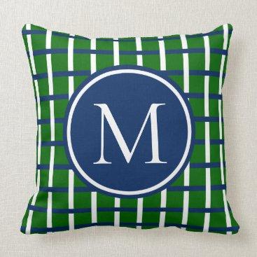 Beach Themed Navy and White Plaid on Green Monogram Throw Pillow