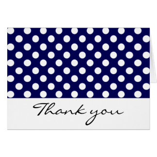Navy and White Polka Dot Thank You Notes Greeting Card