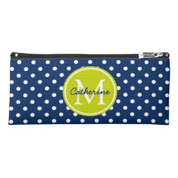 Beach Themed Navy and White Polka Dot With Lime Monogram Pencil Case