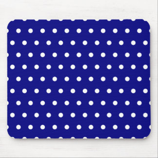 Navy and White Polka Dots Mouse Pad