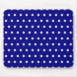 Navy and White Polka Dots Mousepad