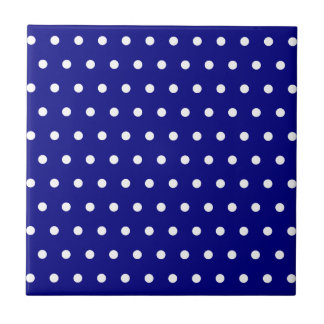 Navy and White Polka Dots Small Square Tile