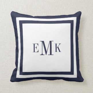 Navy and White Preppy Ribbon Dots Custom Monogram Pillows