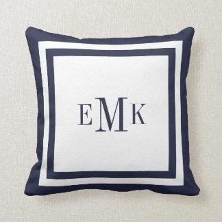 Navy and White Preppy Ribbon Dots Custom Monogram Throw Pillow