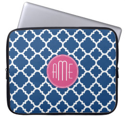 Navy and White Quatrefoil Pattern Custom Monogram Computer Sleeve