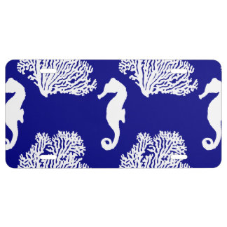 Navy And White Seahorse Coastal Pattern License Plate
