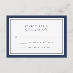 navy and white simple border wedding rsvp card - Responding To Wedding Rsvp Cards