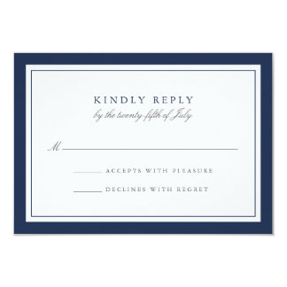 Navy and White Simple Border Wedding RSVP Card