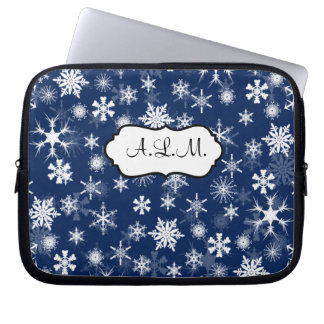 Navy and White Snowflakes Laptop Sleeve
