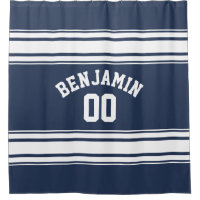 Navy and White Sports Jersey Custom Name Number Shower Curtain