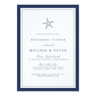 Navy and White Starfish Rehearsal Dinner Invitation