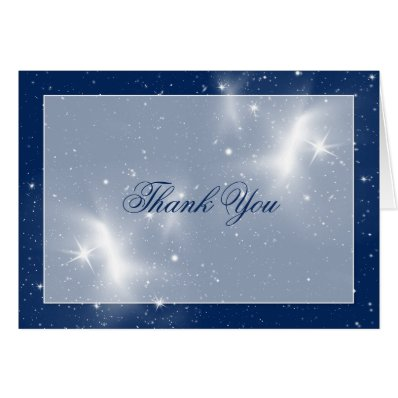 Navy and White Stars Wedding Thank You Greeting Cards
