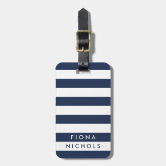 Navy and White Stripe Personalized Luggage Tag