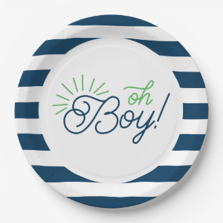 Navy and White Striped Baby Shower Plates