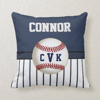 Navy and White Striped Baseball Pillow 6 Text Box