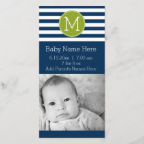 Navy and White Striped Pattern Green Monogram Announcement