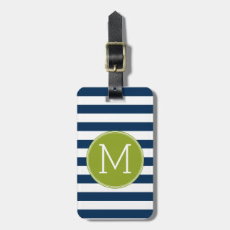 Navy and White Striped Pattern Green Monogram Bag Tag