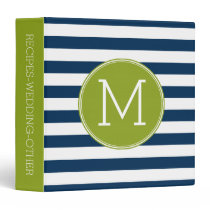 Navy and White Striped Pattern Green Monogram Binder