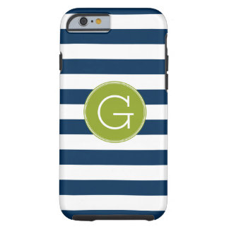 Navy and White Striped Pattern Green Monogram iPhone 6 Case