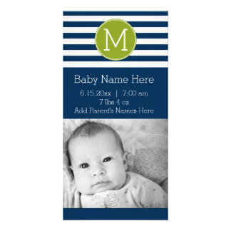 Navy and White Striped Pattern Green Monogram Photo Card