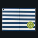 """Navy and White Striped Pattern Green Monogram Powis iPad Air 2 Case<br><div class=""""desc"""">A bold and modern design with an area for monograms. If you need to adjust the artwork or change the font,  you can click on the customize area. This will take you to the design tool where you can make many changes.</div>"""