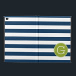 "Navy and White Striped Pattern Green Monogram Powis iPad Air 2 Case<br><div class=""desc"">A bold and modern design with an area for monograms. If you need to adjust the artwork or change the font,  you can click on the customize area. This will take you to the design tool where you can make many changes.</div>"