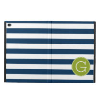 Navy and White Striped Pattern Green Monogram Powis iPad Air 2 Case