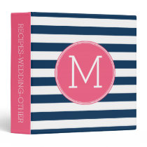 Navy and White Striped Pattern Hot Pink Monogram Binder