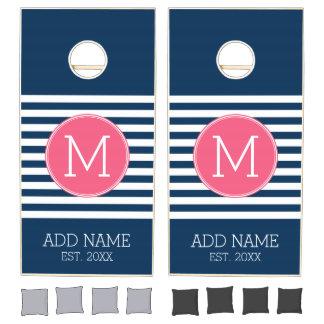 Navy and White Striped Pattern Hot Pink Monogram Cornhole Set