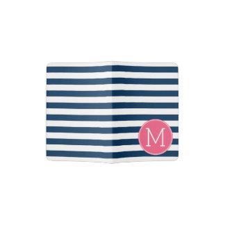 Navy and White Striped Pattern Hot Pink Monogram Passport Holder