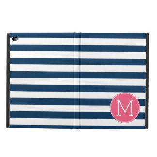 Navy and White Striped Pattern Hot Pink Monogram Powis iPad Air 2 Case