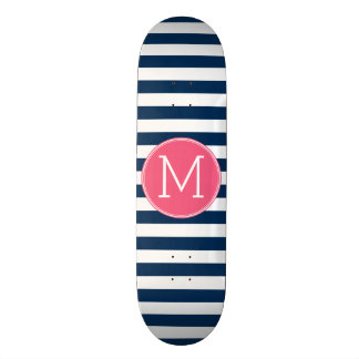 Navy and White Striped Pattern Hot Pink Monogram Skateboard