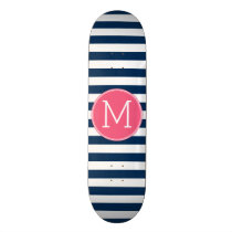 Navy and White Striped Pattern Hot Pink Monogram Skateboard Deck