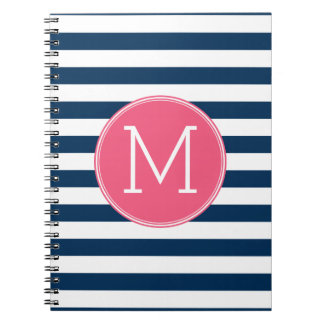 Navy and White Striped Pattern Hot Pink Monogram Spiral Notebook