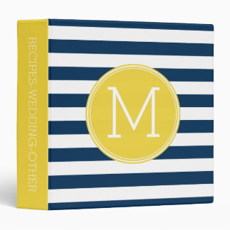 Navy and White Striped Pattern Yellow Monogram 3 Ring Binder