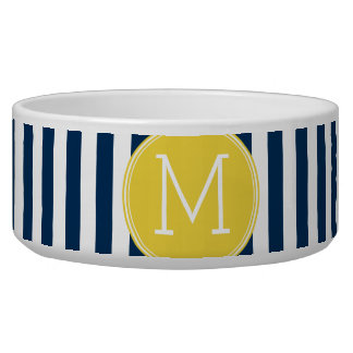 Navy and White Striped Pattern Yellow Monogram Bowl