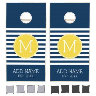 Navy and White Striped Pattern Yellow Monogram Cornhole Set