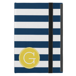 Navy and White Striped Pattern Yellow Monogram Cover For iPad Mini