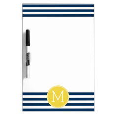 Navy And White Striped Pattern Yellow Monogram Dry Erase Board at Zazzle