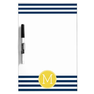 Navy and White Striped Pattern Yellow Monogram Dry Erase Board