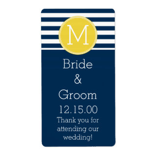 Navy and White Striped Pattern Yellow Monogram Label