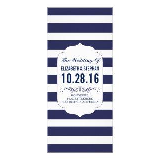 Navy and white stripes chic wedding programs