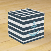 Navy and White Stripes Favor Box