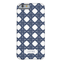 Navy and White Summer Basketweave Pattern Barely There iPhone 6 Case