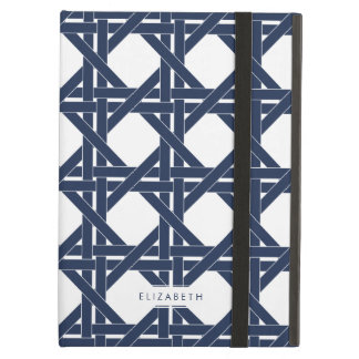 Navy and White Summer Rattan Basketweave Pattern iPad Air Case