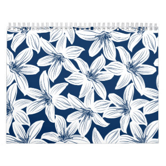 Navy and white tropical hibiscus calendar